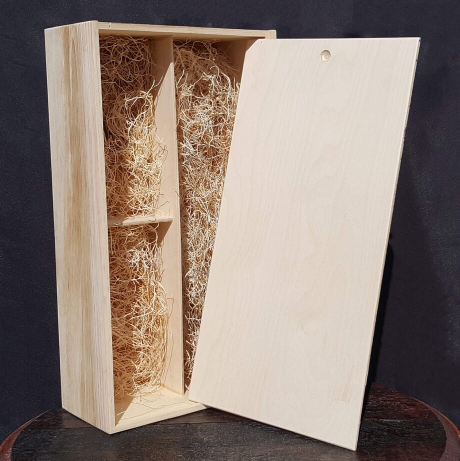 """1 Bottle 2 Glass Wine Crate - 3/8"""" Wood"""