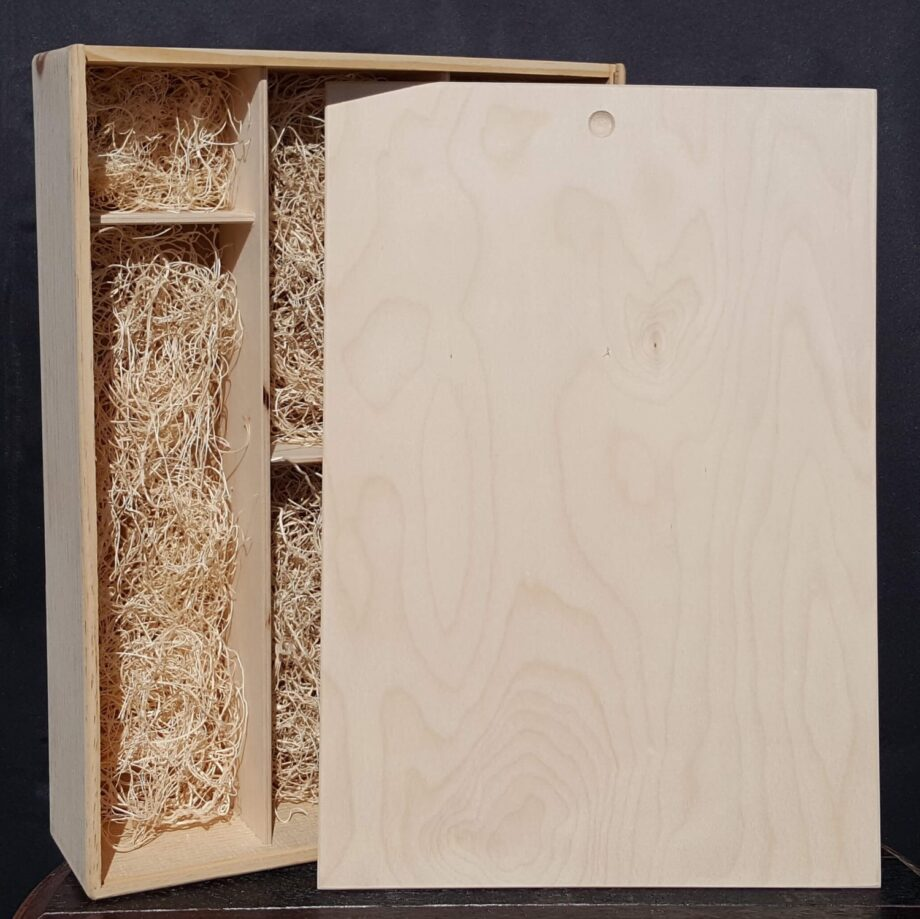 2 Bottle 2 Glass Wine Crate – 3/8″ Wood