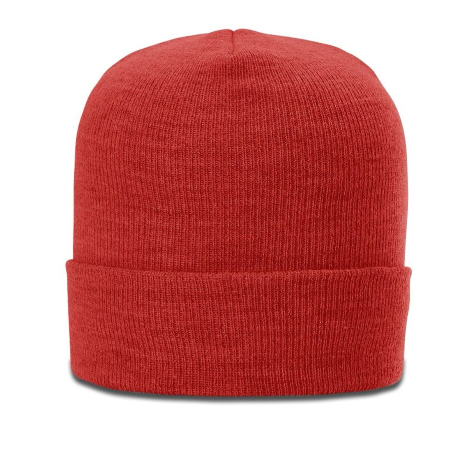 137 Heathered Beanie with Cuff Red