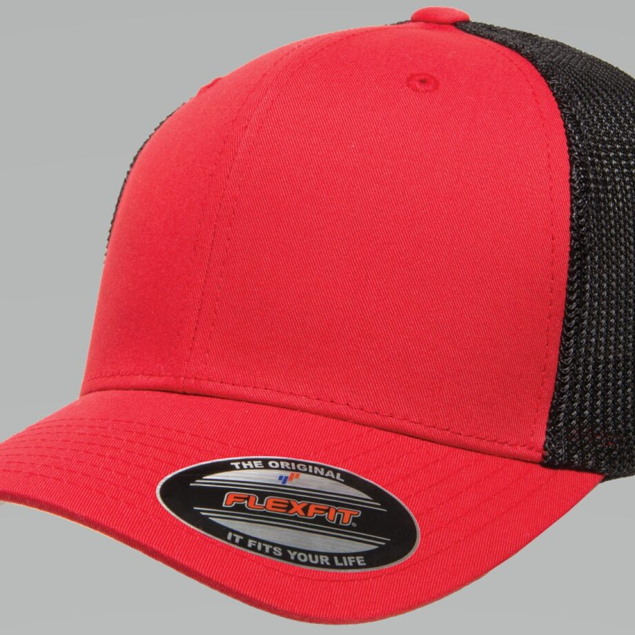 6511T Red Black Flexfit Retro Trucker Two-Tone Cap