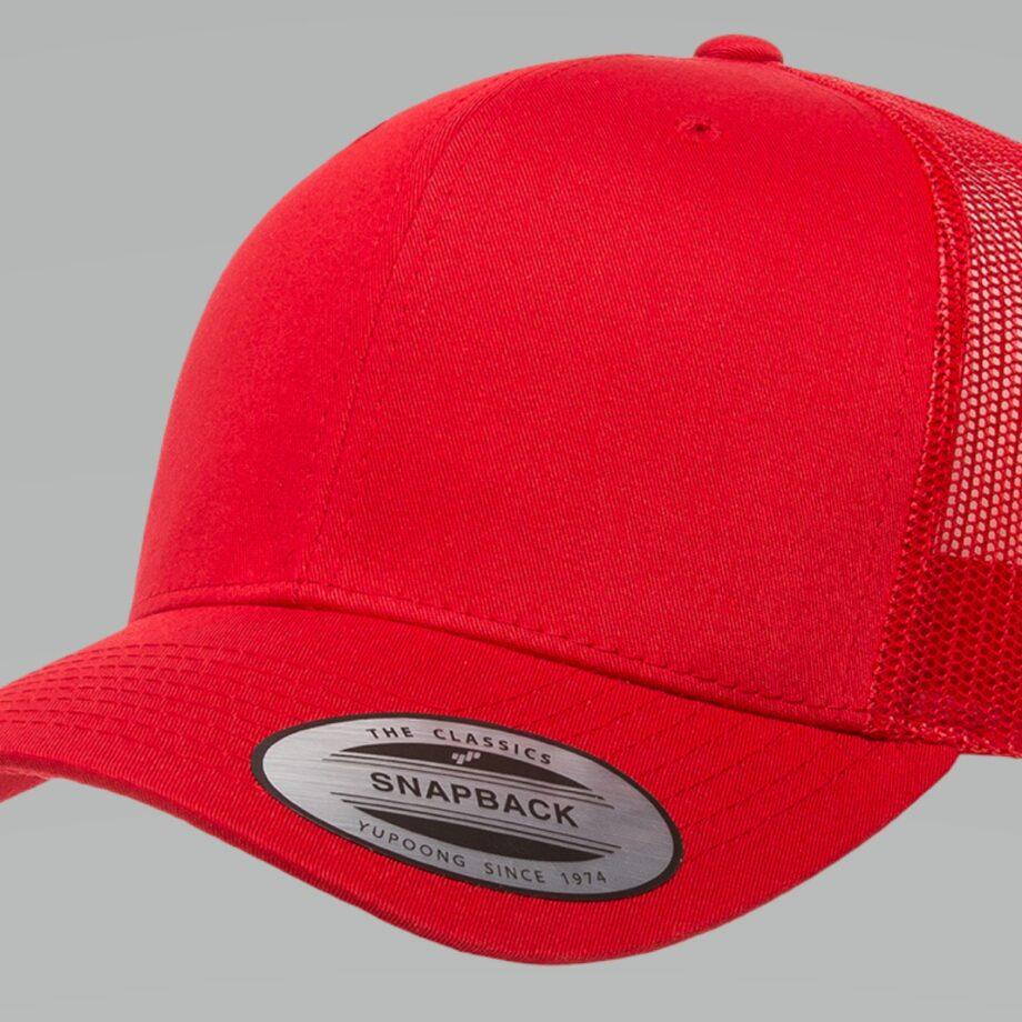 6606 Red Retro Trucker Cap