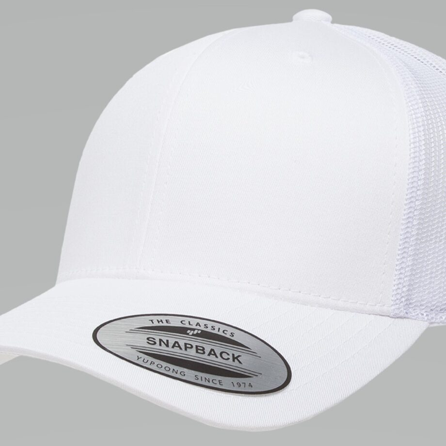 6606 White Retro Trucker Cap