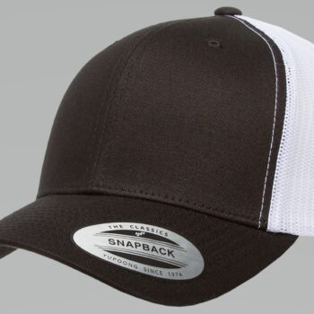 6606T Black and White Retro Trucker Cap