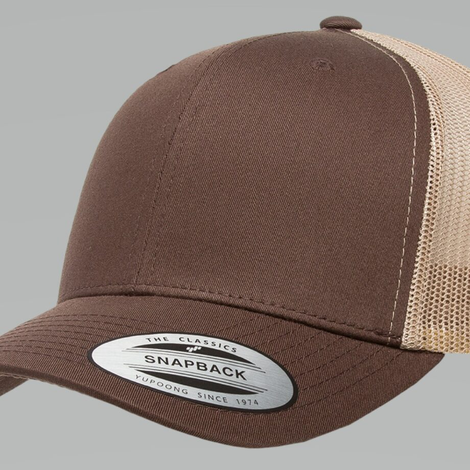 6606T Brown and Khaki Retro Trucker Cap