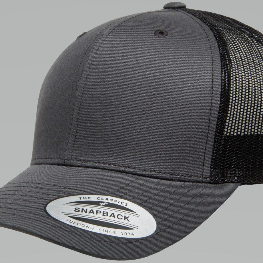 6606T Charcoal and Black Retro Trucker Cap