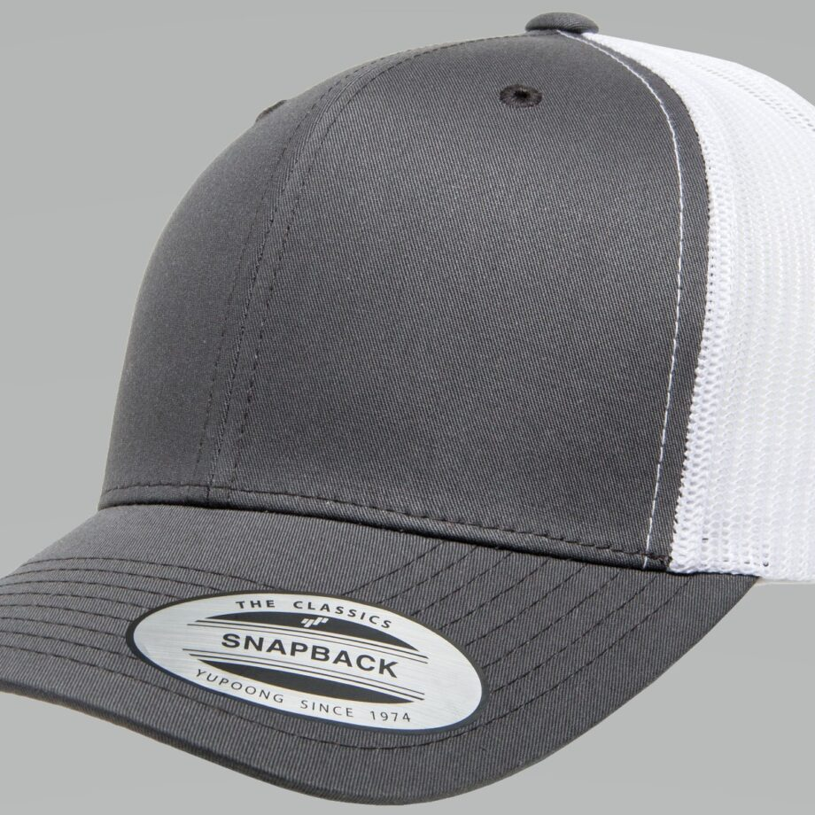 6606T Charcoal and White Retro Trucker Cap