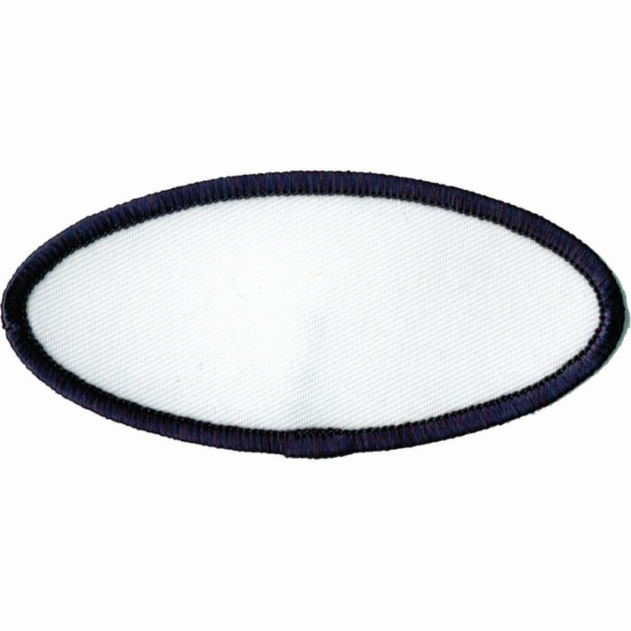 """Oval-Patch-1-5/8""""x3-5/8""""-White-with-Black"""