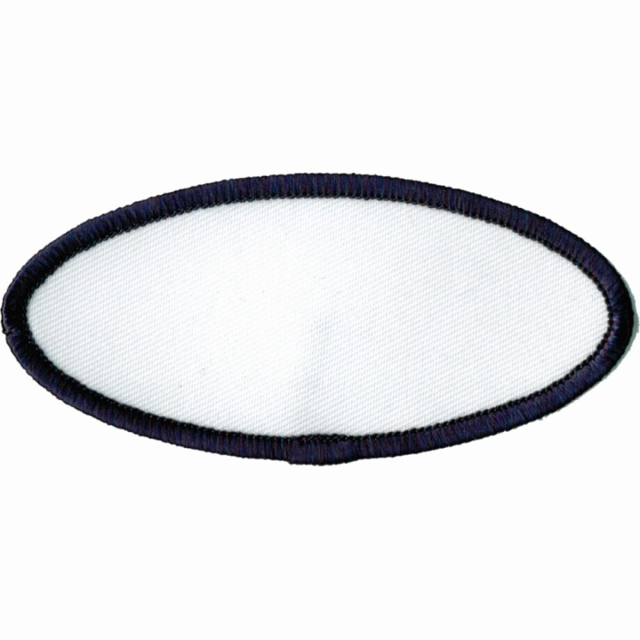 """Oval-Patch-1-5/8""""x3-5/8""""-White-with-Navy"""