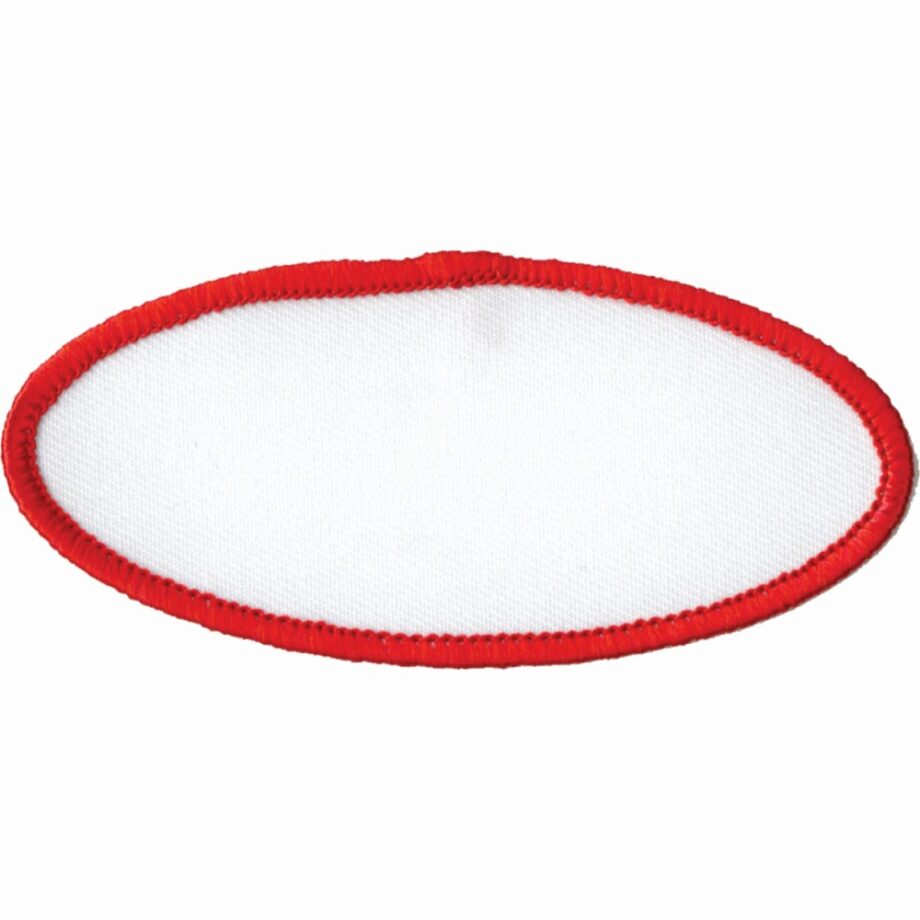 """Oval-Patch-1-5/8""""x3-5/8""""-White-with-Red"""