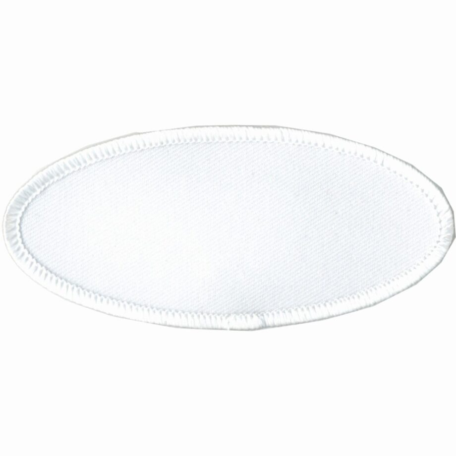 """Oval-Patch-1-5/8""""x3-5/8""""-White-with-White"""