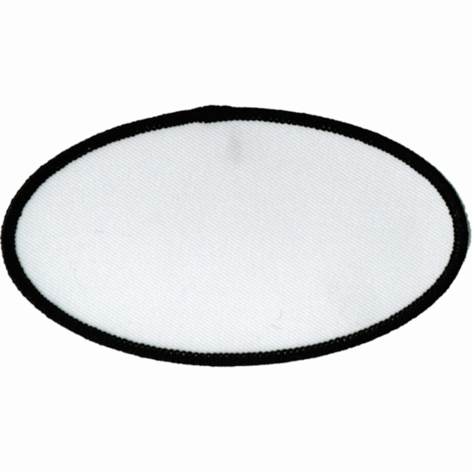 "Oval-Patch-2-1/2""x4-1/2""-White-with-Black"