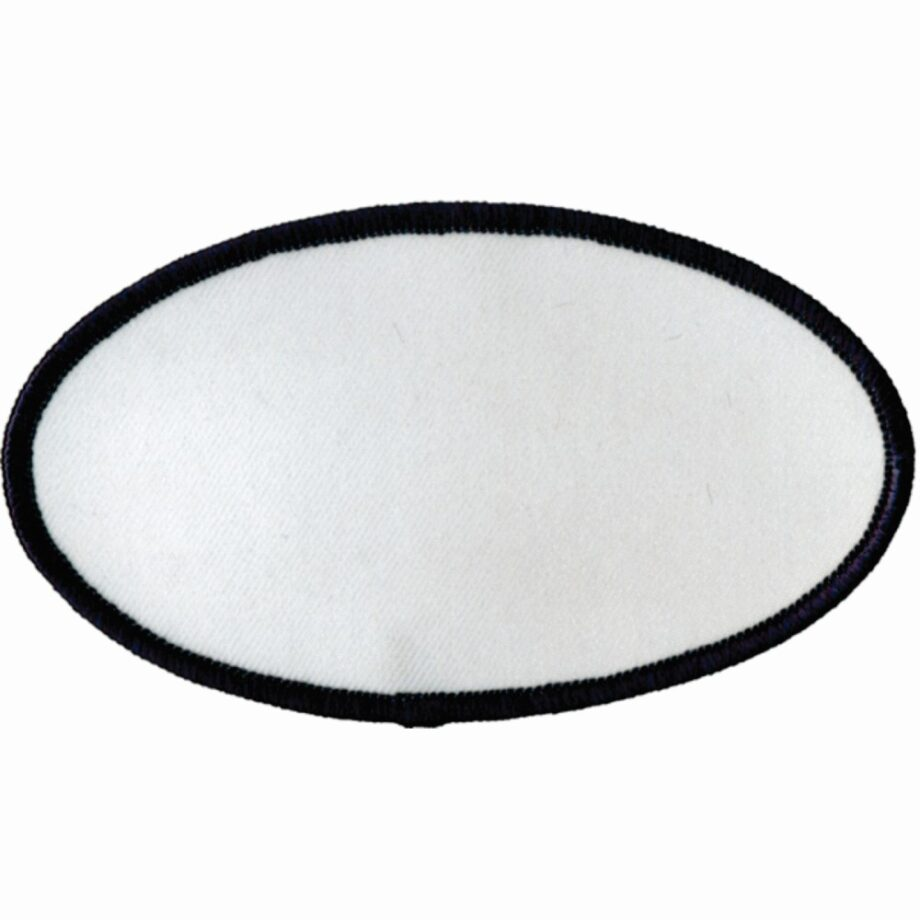 "Oval-Patch-2-1/2""x4-1/2""-White-with-Navy"