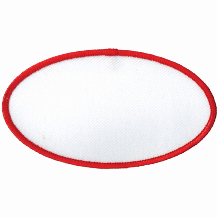 "Oval-Patch-2-1/2""x4-1/2""-White-with-Red"