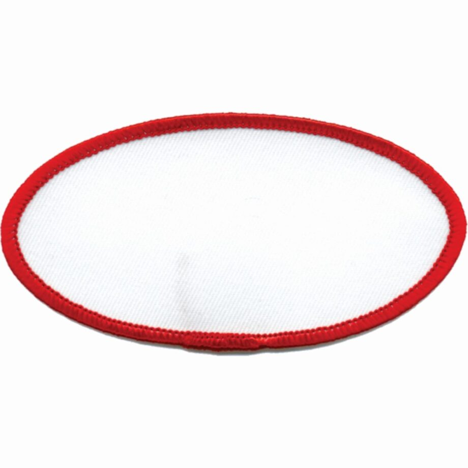"Oval-Patch-2""x4""-White-with-Red"