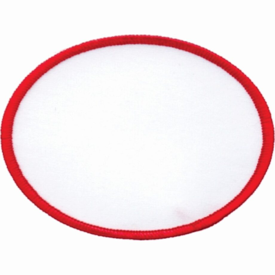 "Oval-Patch-3""x4""-White-with-Red"