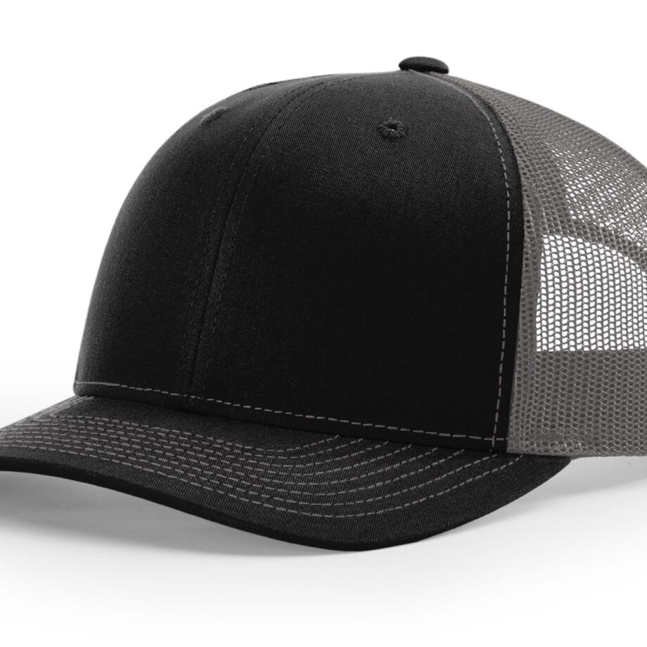 R112 Richardson Trucker Cap Black and Charcoal