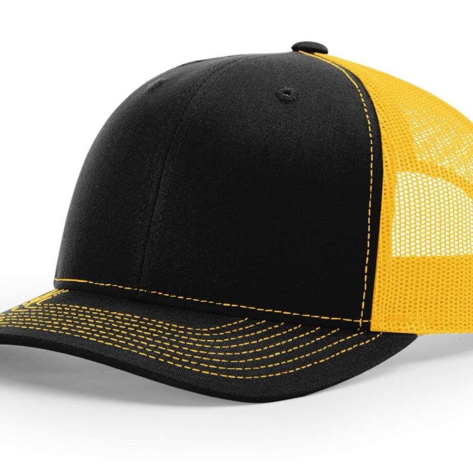 R112 Richardson Trucker Cap Black and Gold