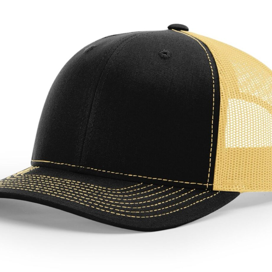 R112 Richardson Trucker Cap Black and Vegas Gold
