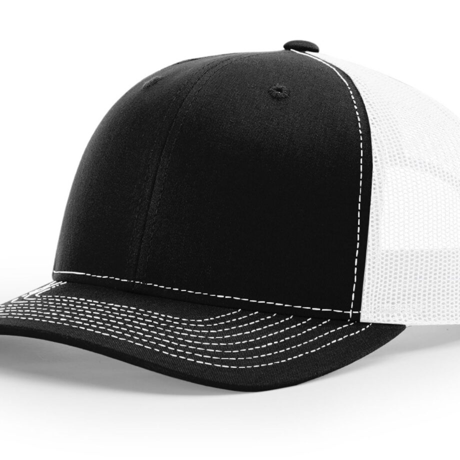 R112 Richardson Trucker Cap Black and White