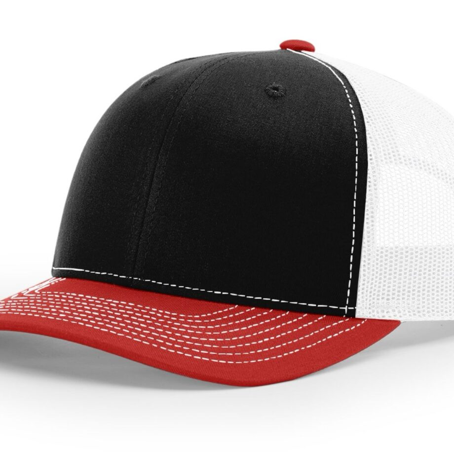 R112 Richardson Trucker Cap Black and White and Red