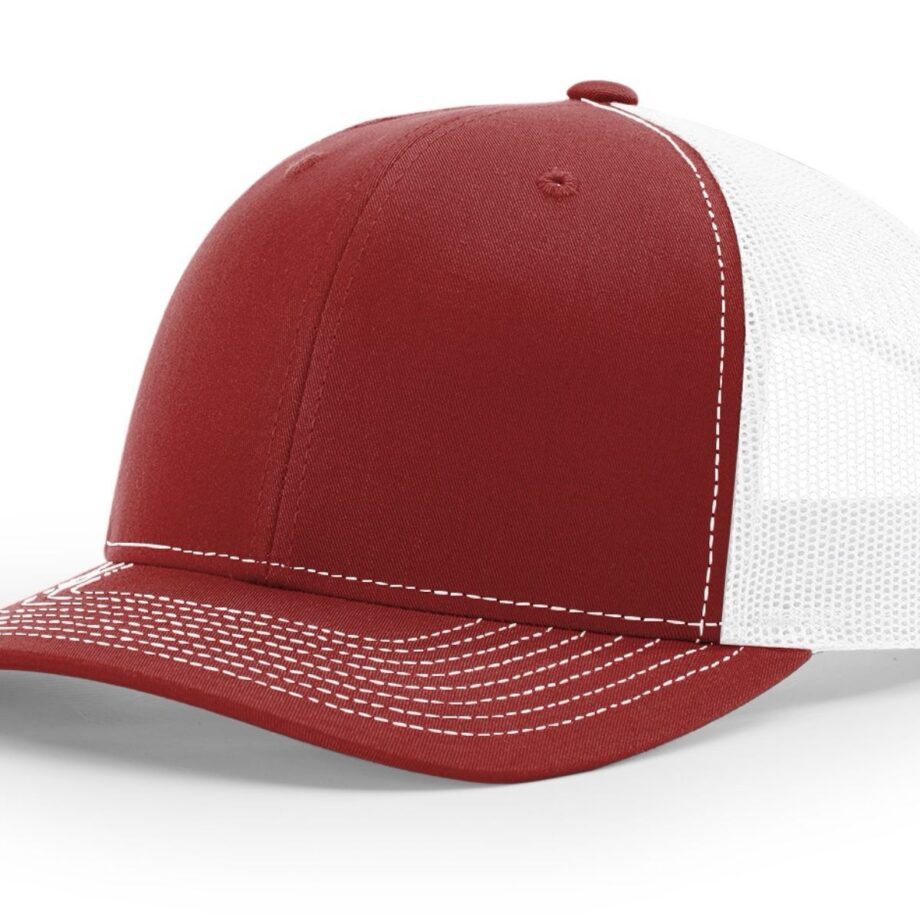 R112 Richardson Trucker Cap Cardinal and White