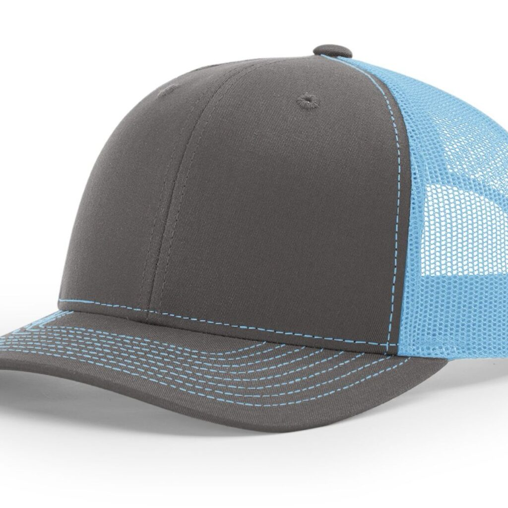 R112 Richardson Trucker Cap Charcoal and Columbia Blue