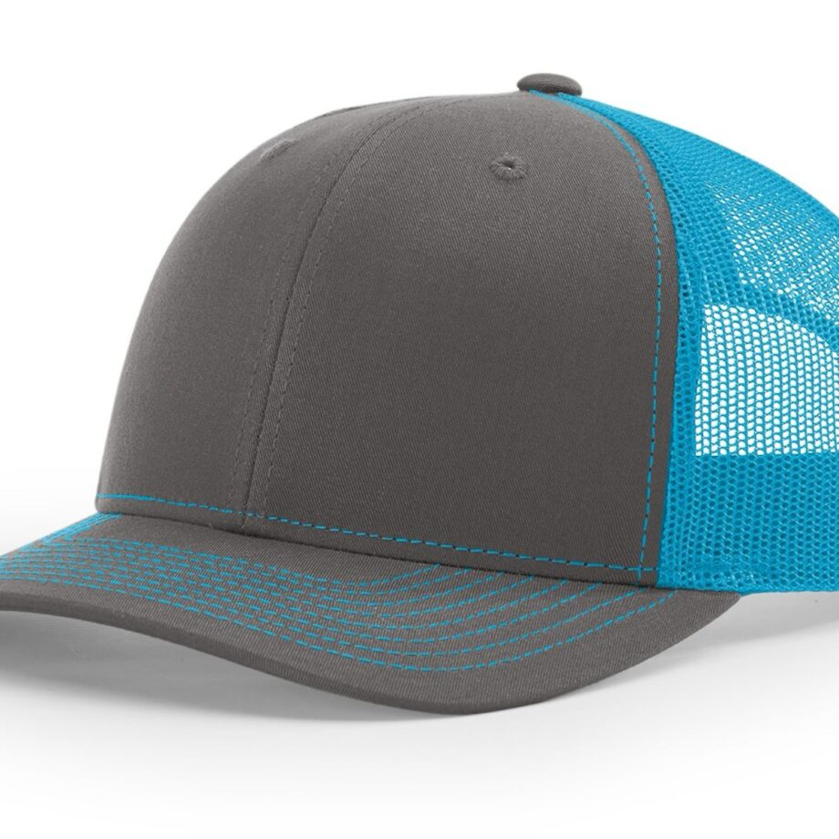 R112 Richardson Trucker Cap Charcoal and Neon Blue