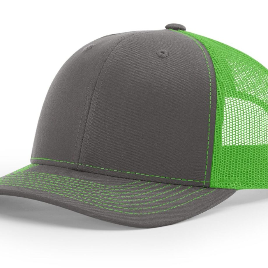 R112 Richardson Trucker Cap Charcoal and Neon Green