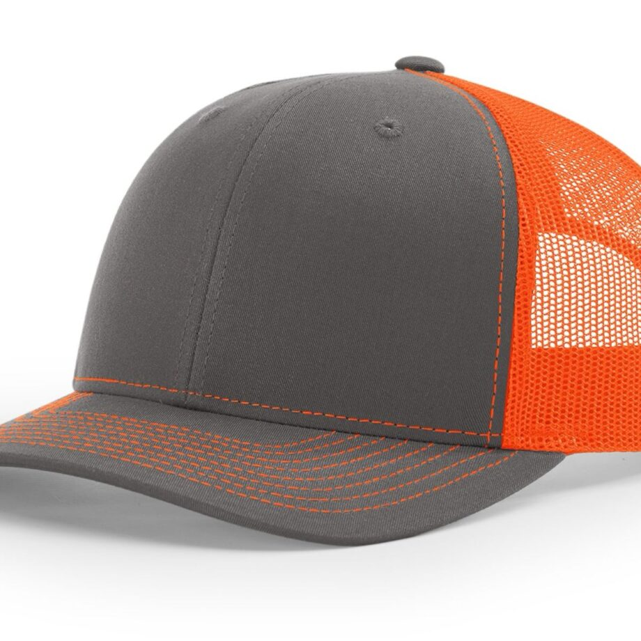 R112 Richardson Trucker Cap Charcoal and Neon Orange