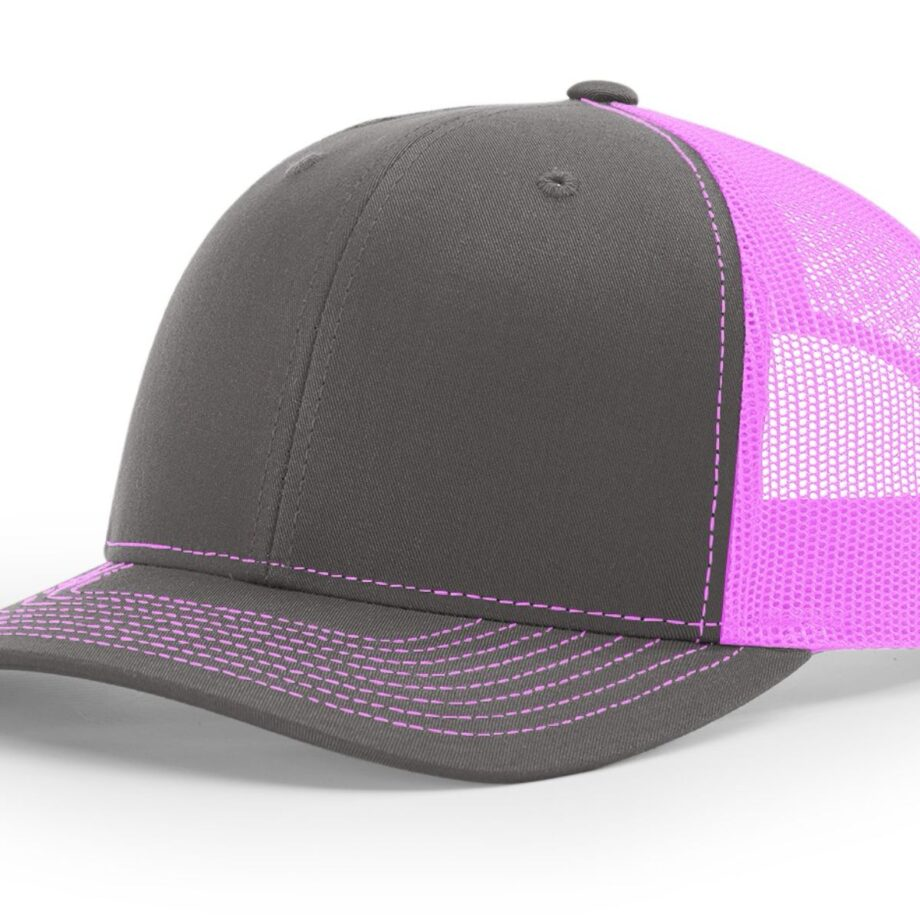 R112 Richardson Trucker Cap Charcoal and Neon Pink