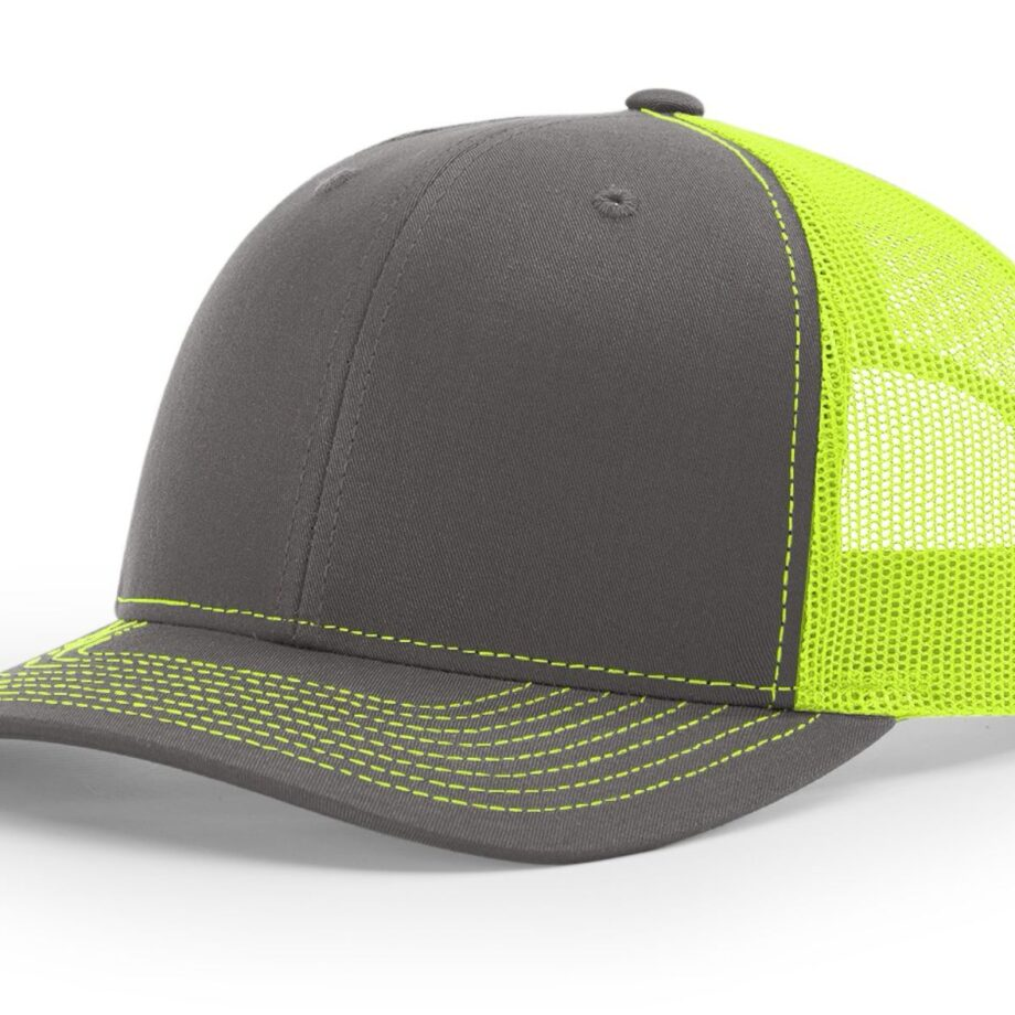 R112 Richardson Trucker Cap Charcoal and Neon Yellow