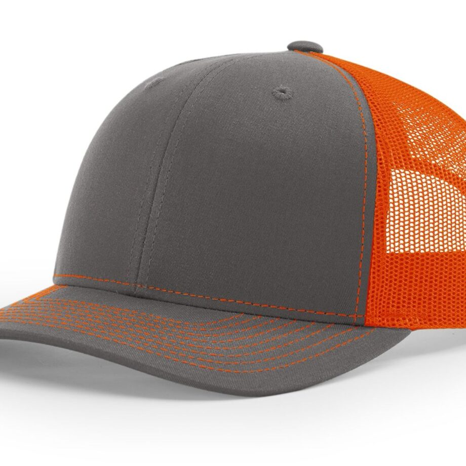 R112 Richardson Trucker Cap Charcoal and Orange