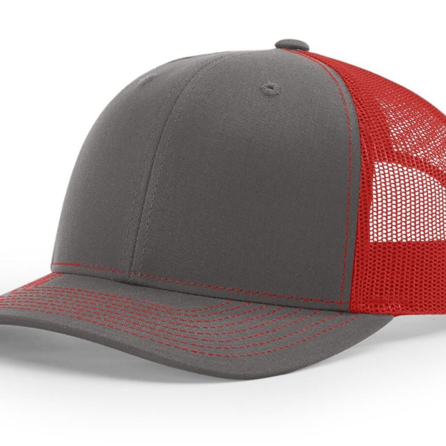 R112 Richardson Trucker Cap Charcoal and Red