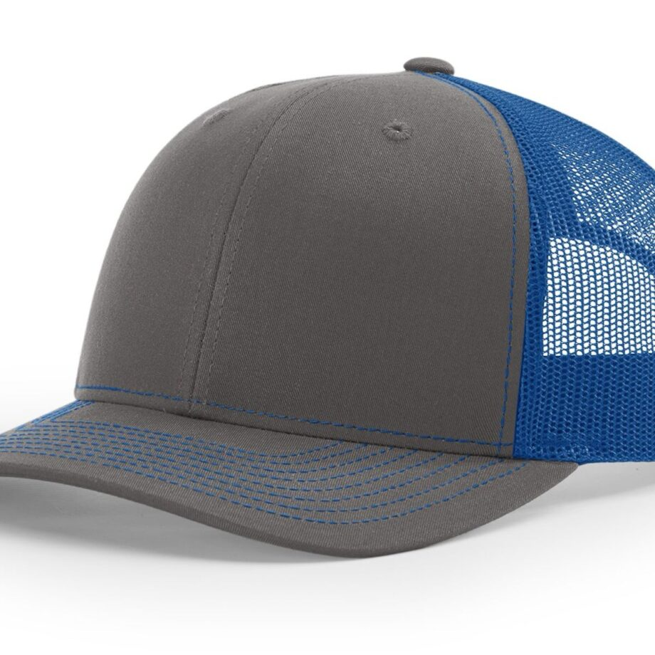 R112 Richardson Trucker Cap Charcoal and Royal