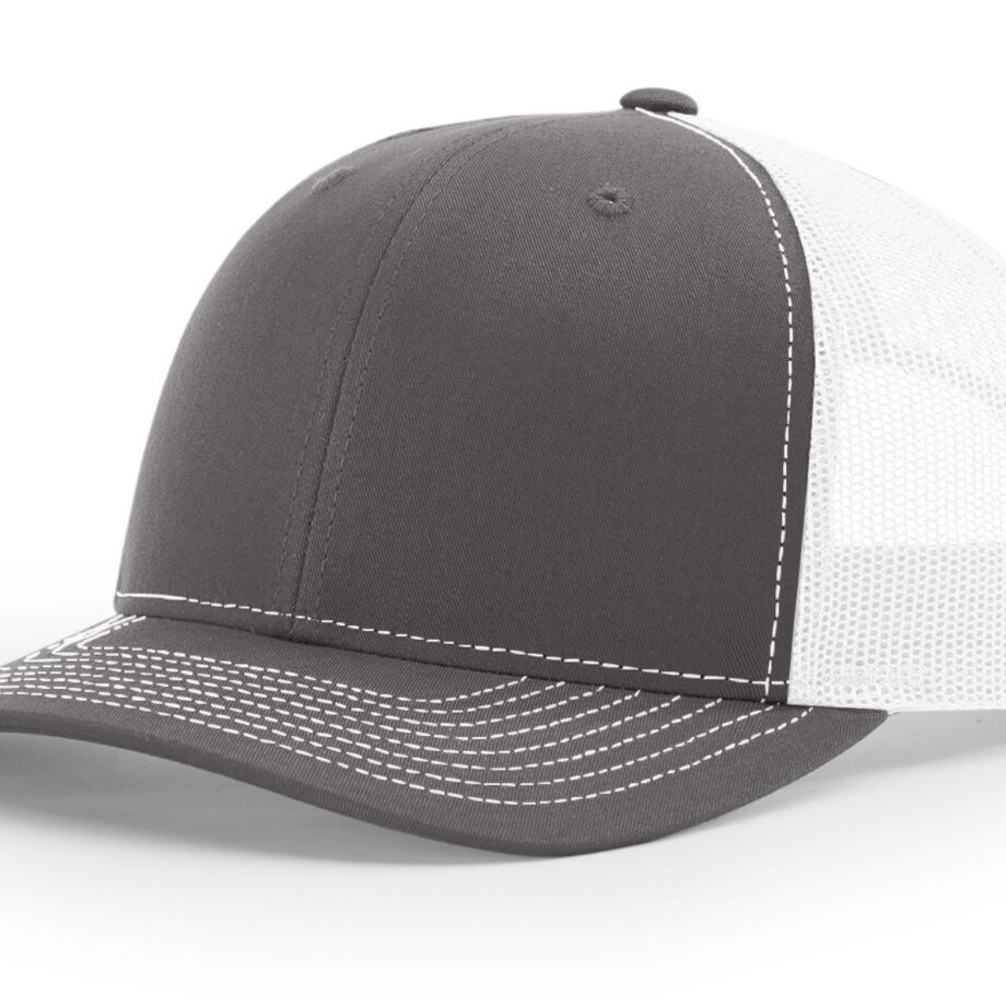 R112 Richardson Trucker Cap Charcoal and White