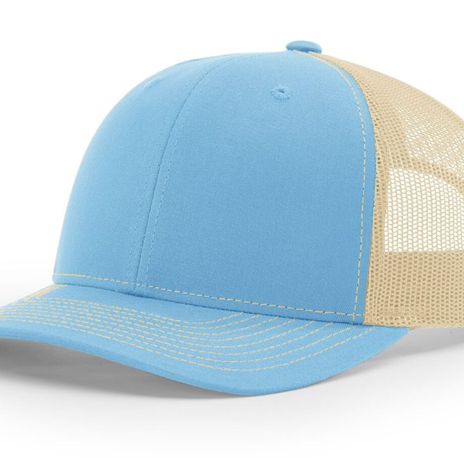 R112 Richardson Trucker Cap Columbia Blue and Khaki
