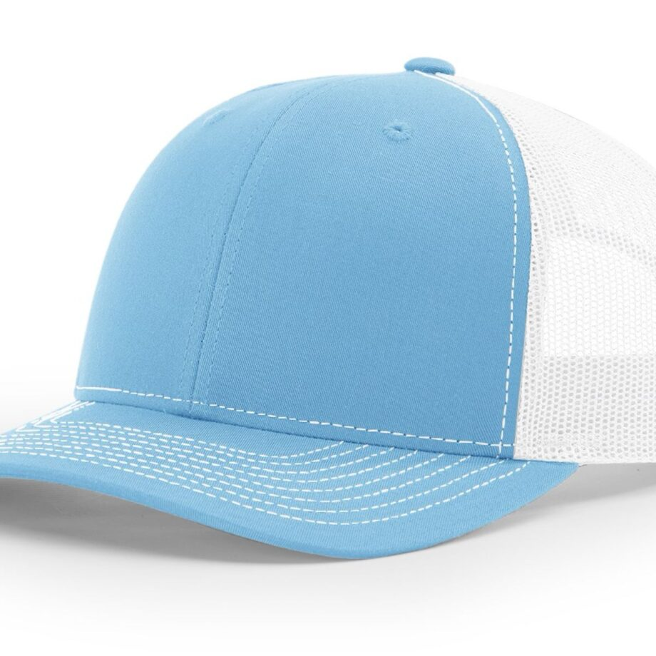 R112 Richardson Trucker Cap Columbia Blue and White