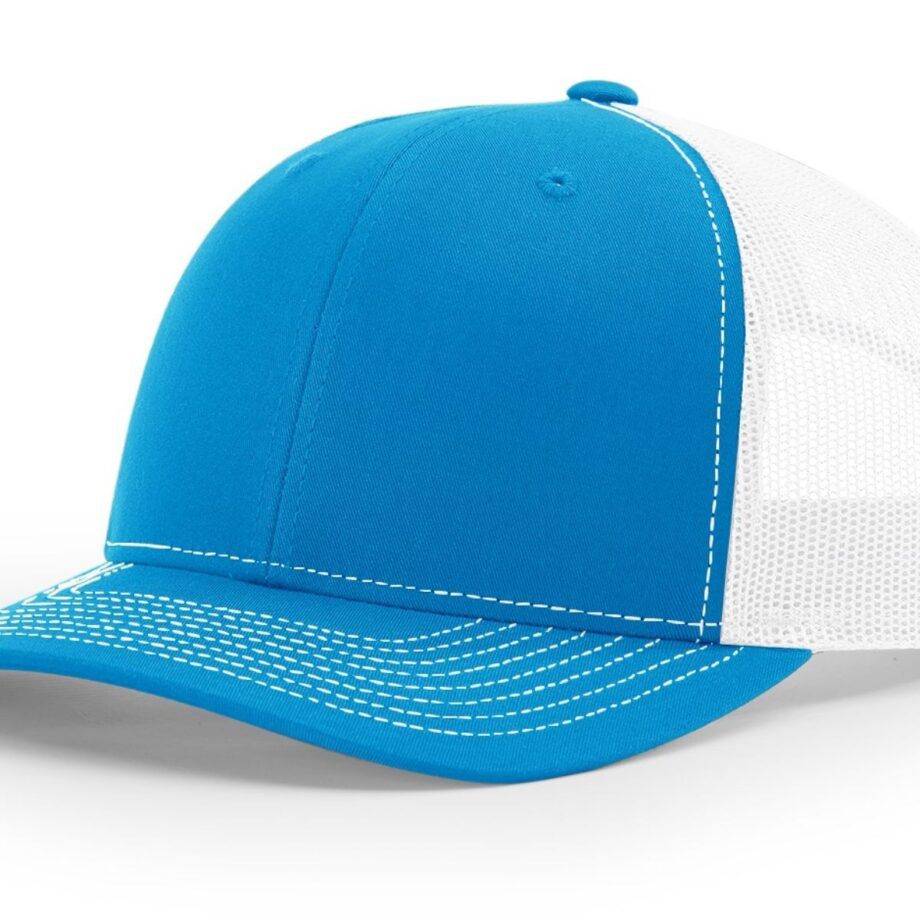 R112 Richardson Trucker Cap Cyan and White