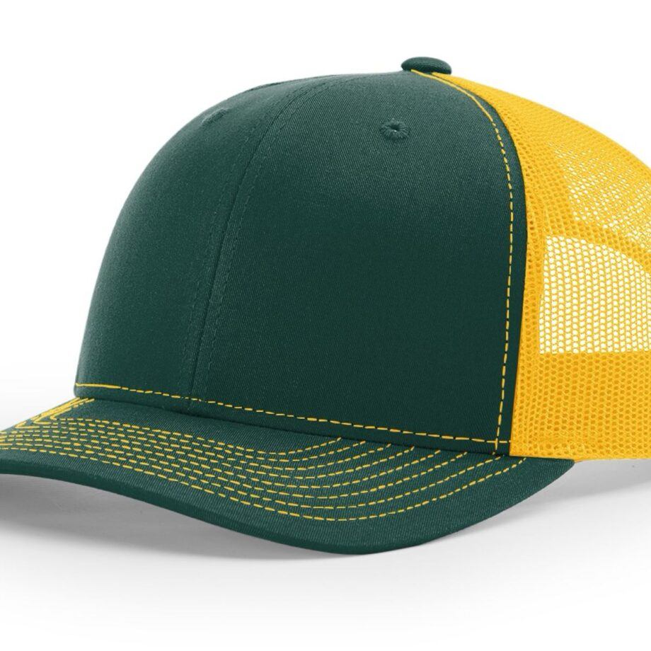 R112 Richardson Trucker Cap Dark Green and Gold