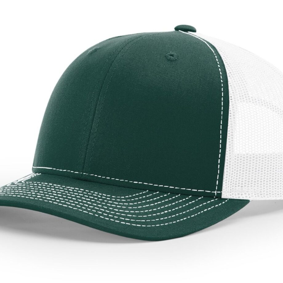R112 Richardson Trucker Cap Dark Green and White