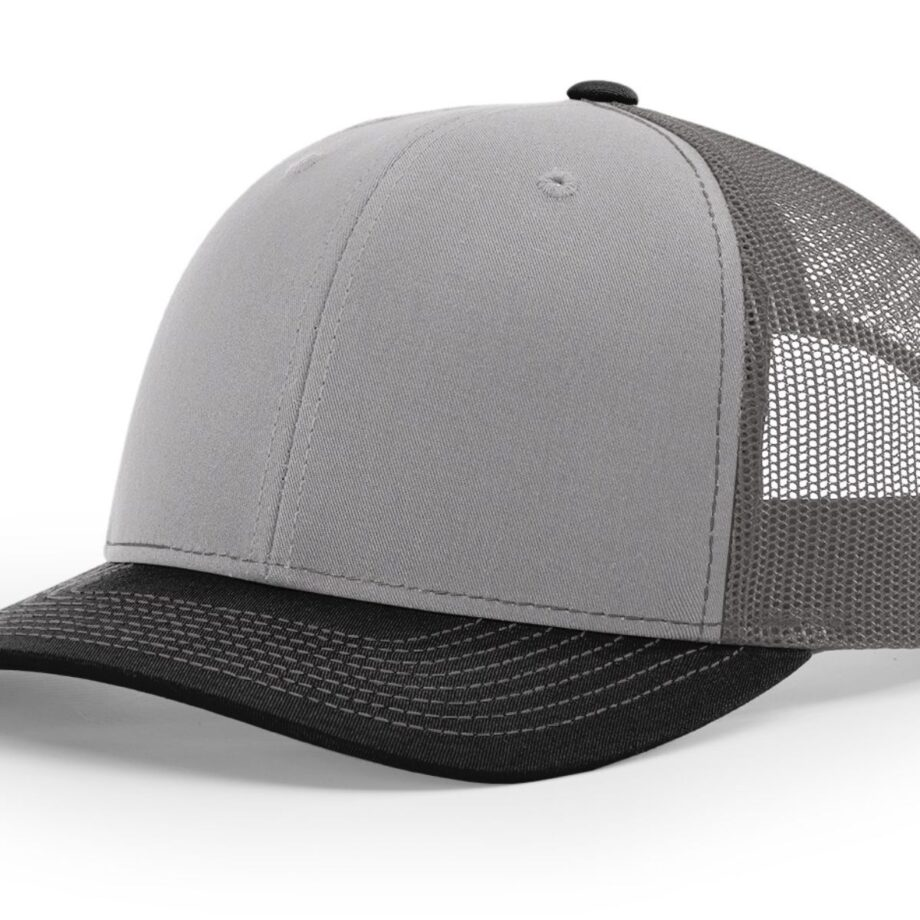 R112 Richardson Trucker Cap Grey and Charcoal and Black