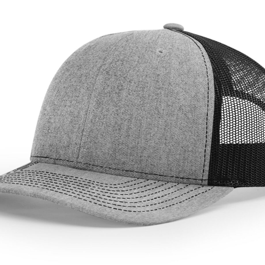 R112 Richardson Trucker Cap Heather Grey and Black