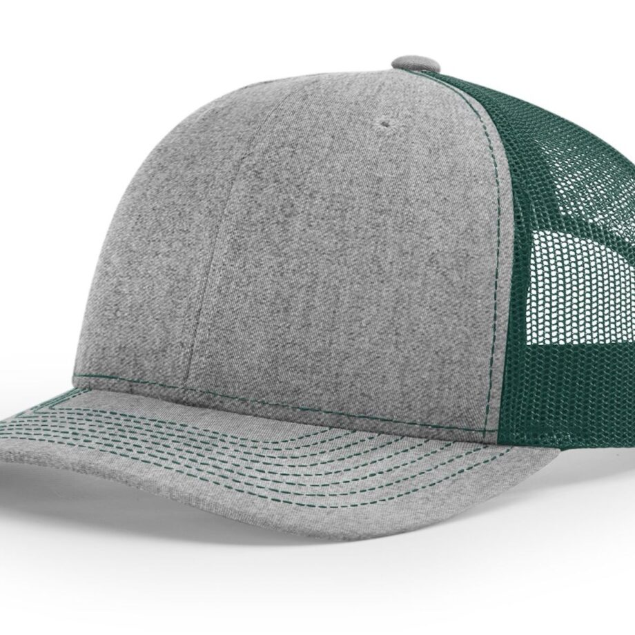 R112 Richardson Trucker Cap Heather Grey and Dark Green