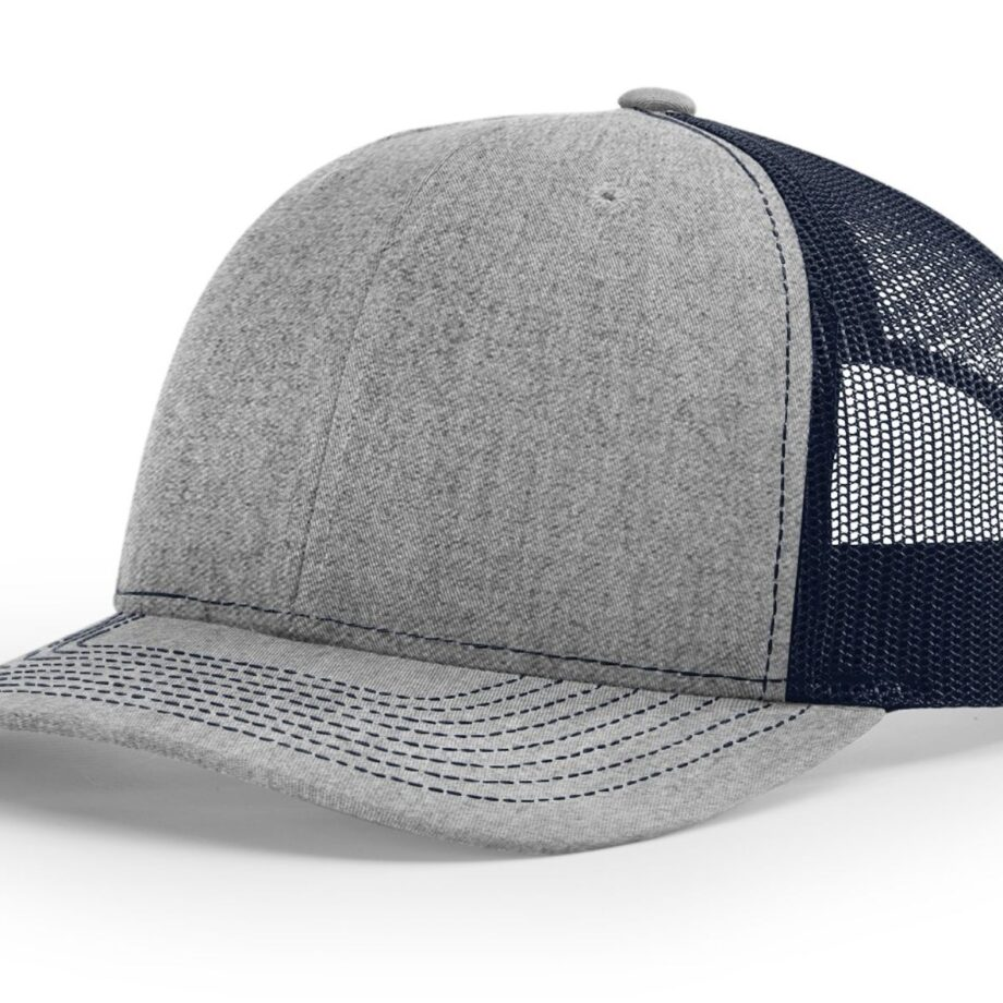 R112 Richardson Trucker Cap Heather Grey and Navy
