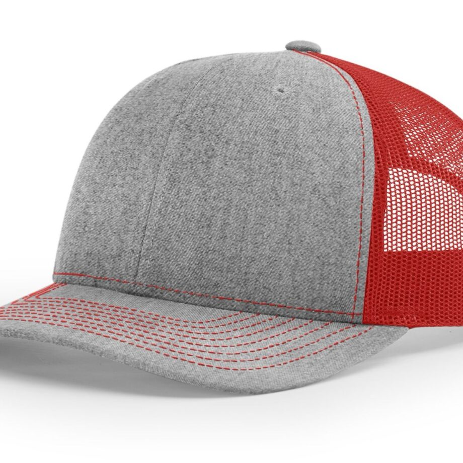 R112 Richardson Trucker Cap Heather Grey and Red