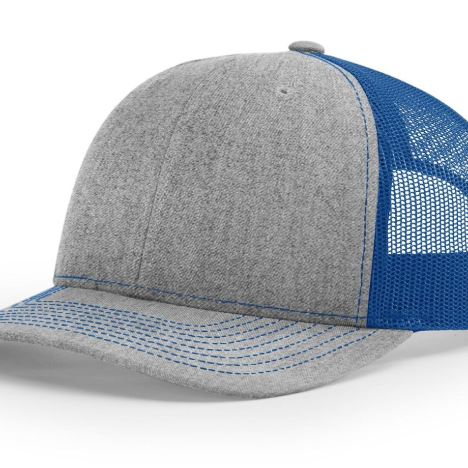 R112 Richardson Trucker Cap Heather Grey and Royal