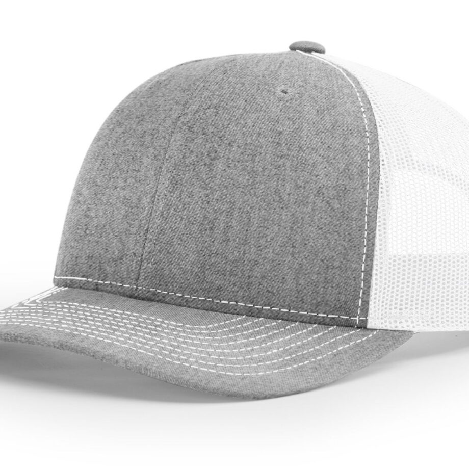 R112 Richardson Trucker Cap Heather Grey and White
