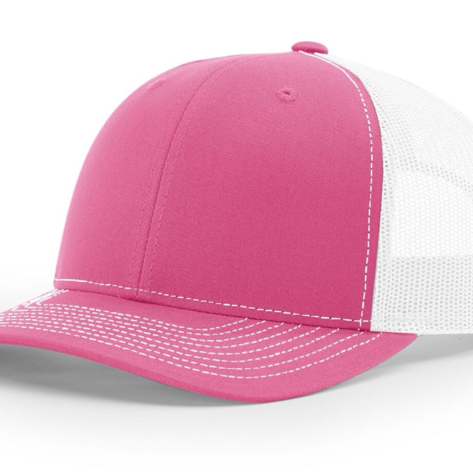 R112 Richardson Trucker Cap Hot Pink and White