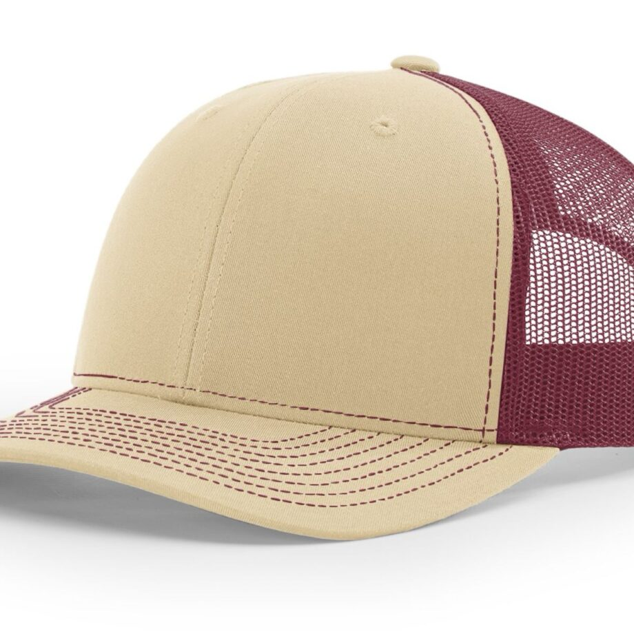 R112 Richardson Trucker Cap Khaki and Burgundy