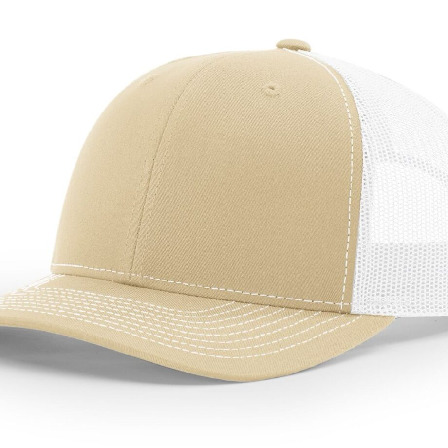 R112 Richardson Trucker Cap Khaki and White